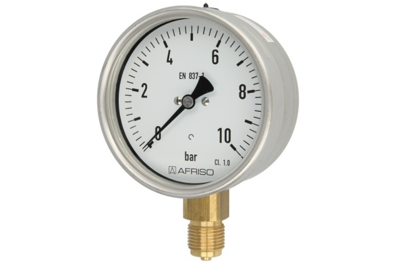 Rohrfedermanometer Gas 0 - 10 bar