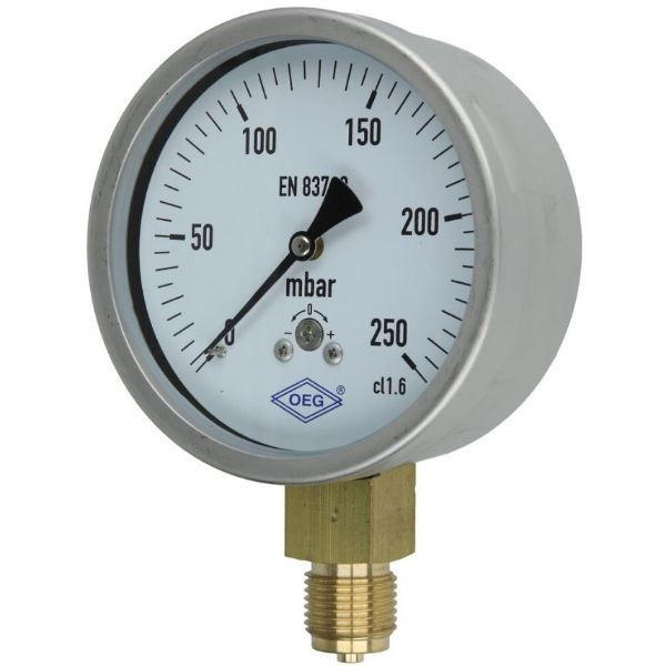 Kapselfedermanometer Gas 0 - 250 mbar