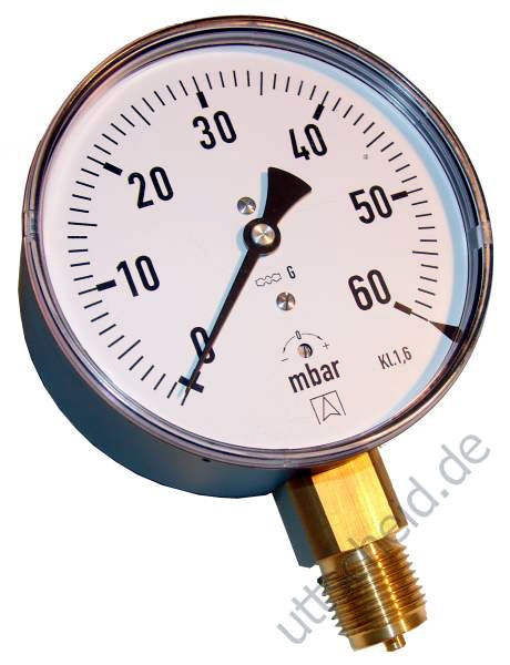 Kapselfedermanometer Gas 0 - 100 mbar